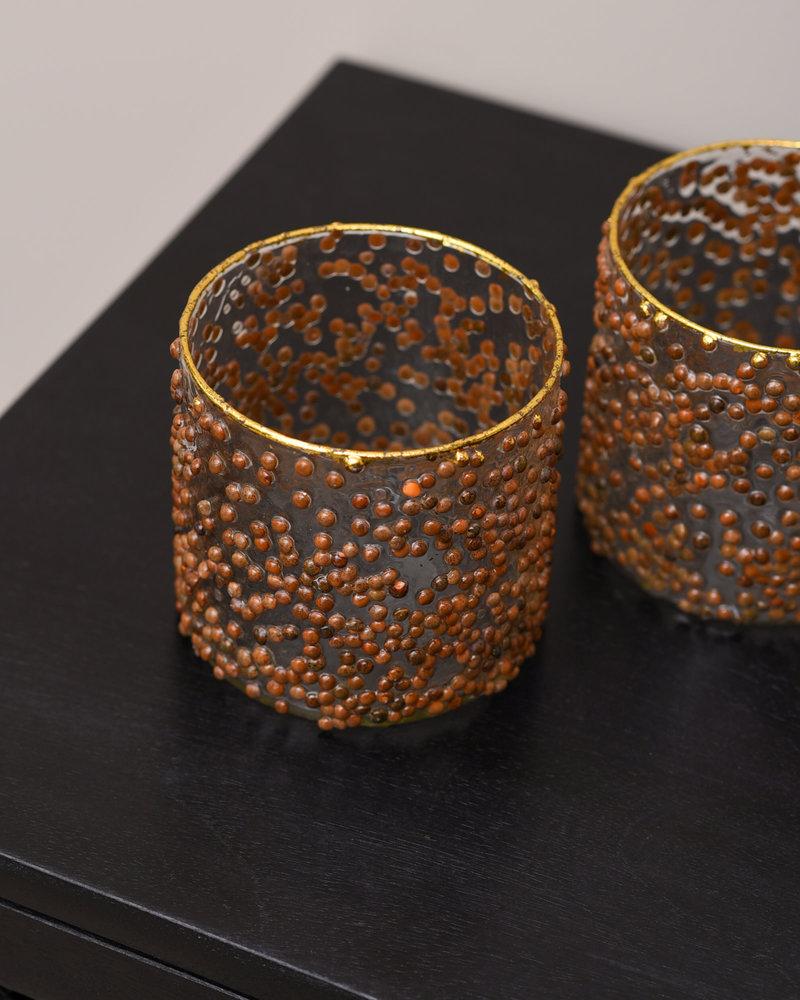 Tealight Glass Brown Dots