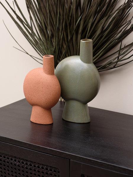 Madam Stoltz Stoneware Vase Round Rust