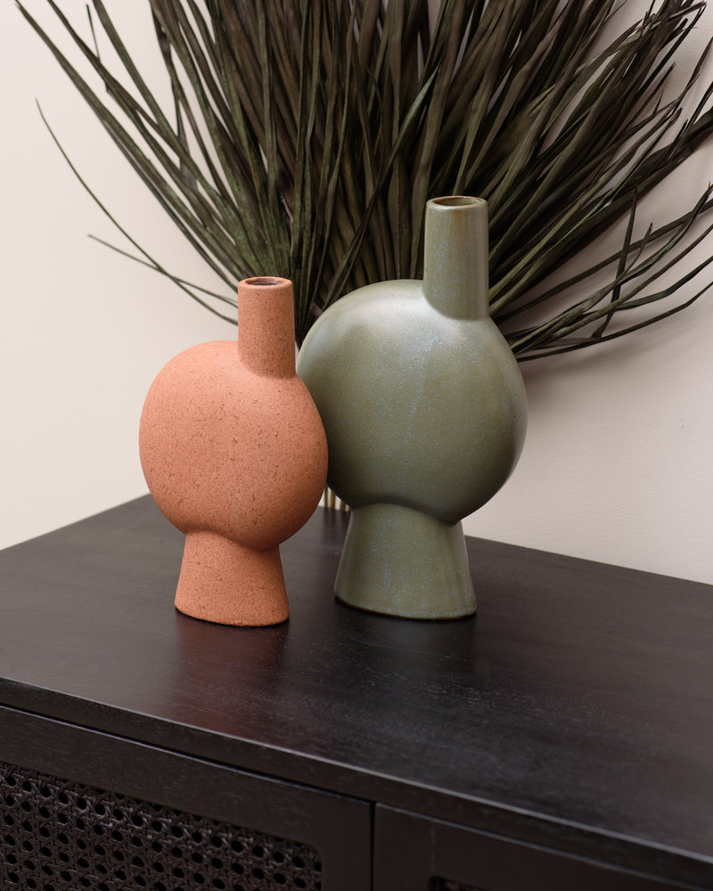 Stoneware Vase Round Rust