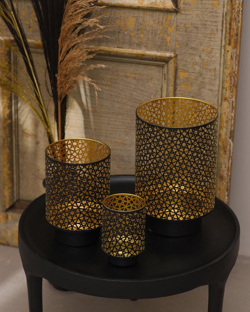Lantern Black Gold Stars