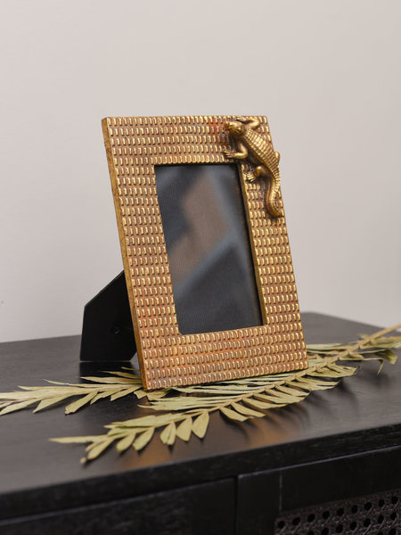 Photo Frame Crocodile Gold