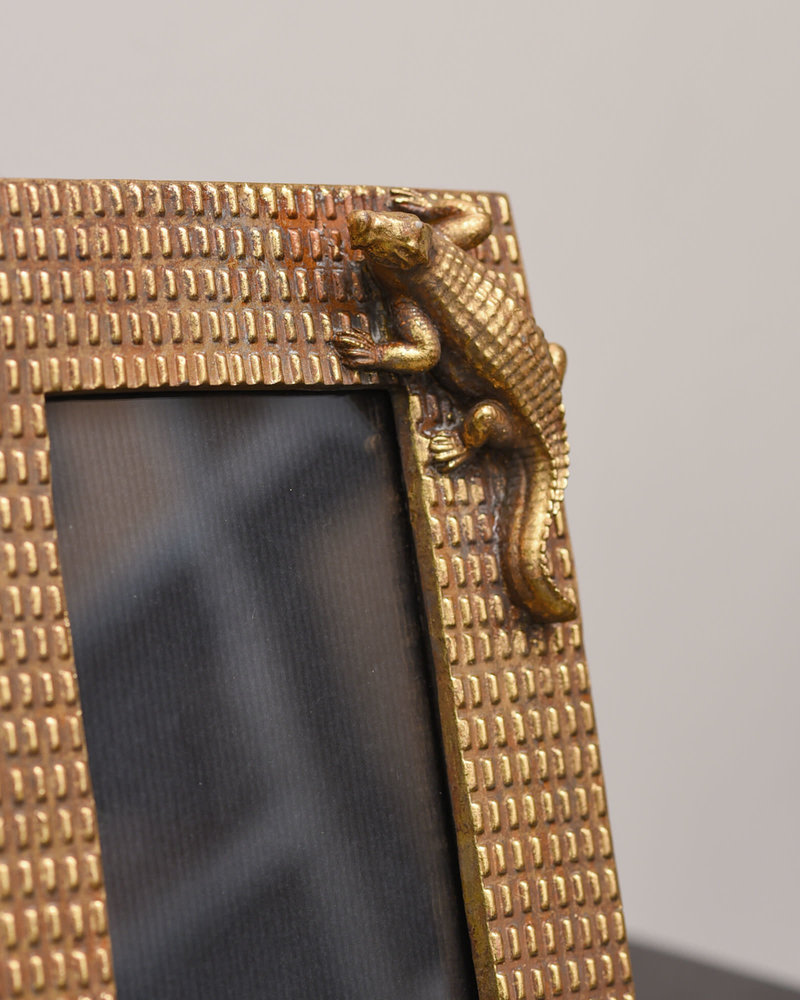 Photo Frame Crocodile Gold