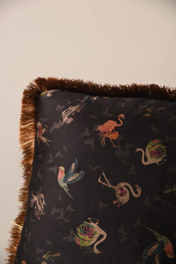 Cushion Birds Black Velvet