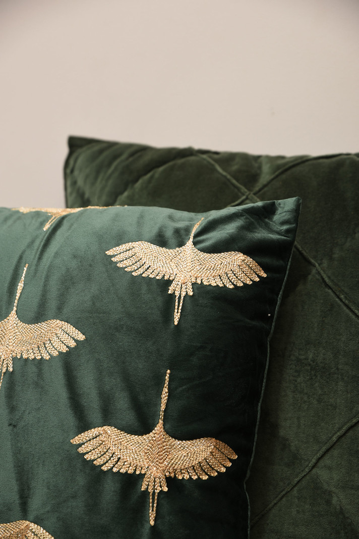 Cushion Crane Bird Green