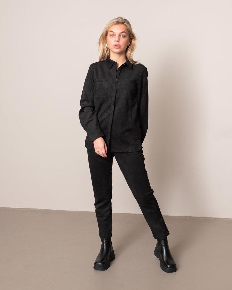 Faux Suede Shirt Black