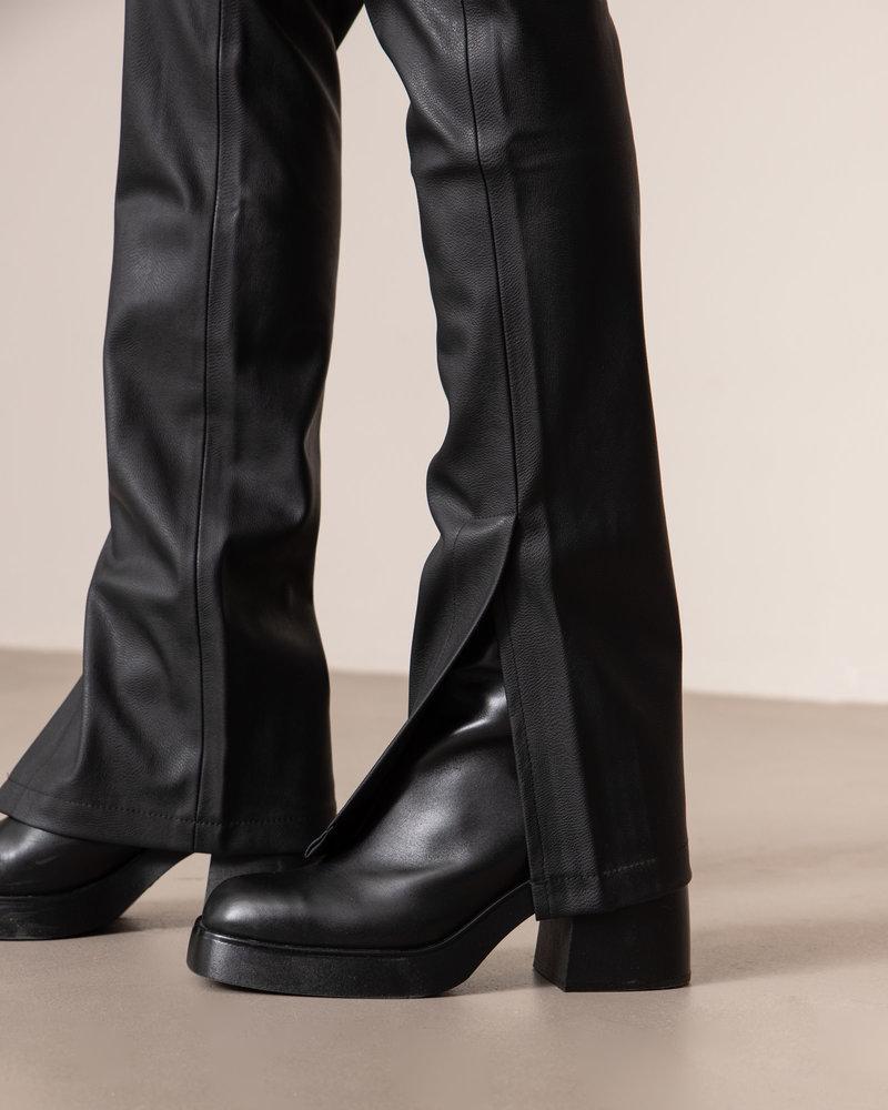 Pu Side Slit Leggings Black