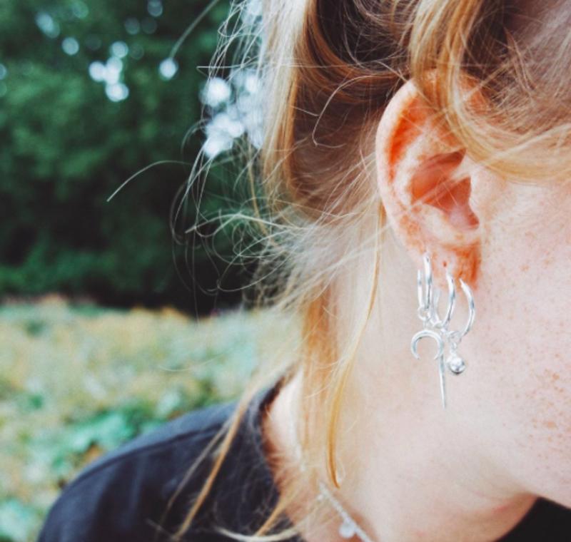 Silver Earring Charm Luna