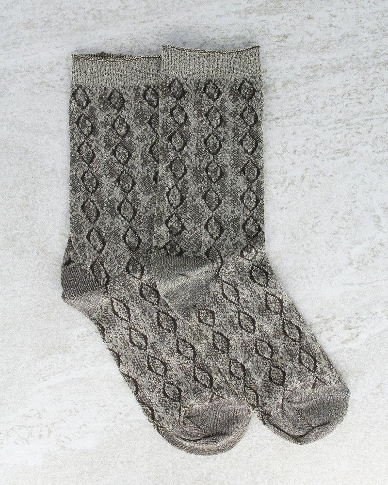 Glitter Socks Snake Gold