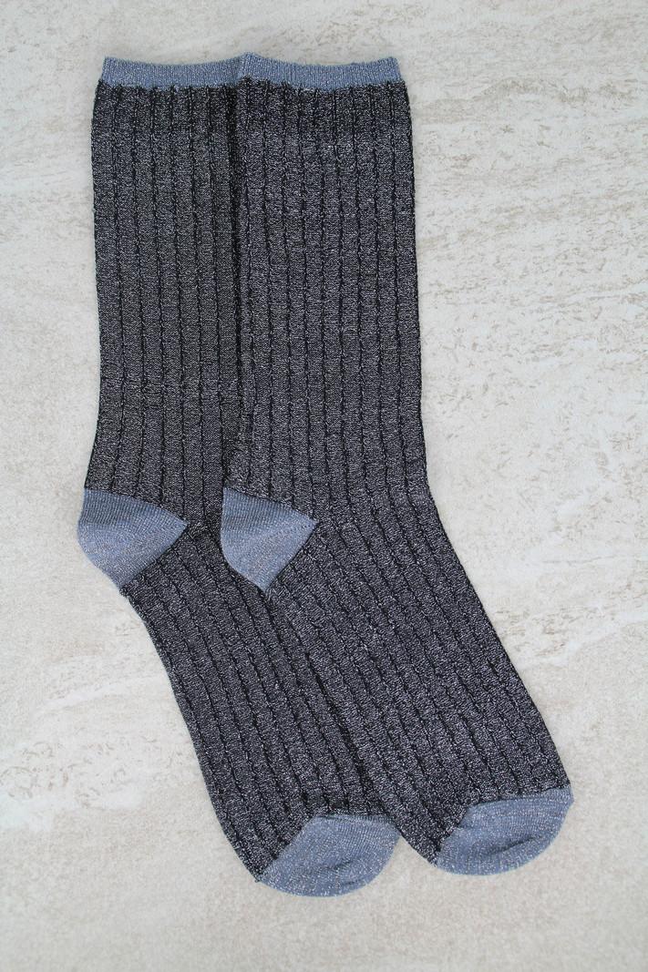 Glitter Socks Striped Silver