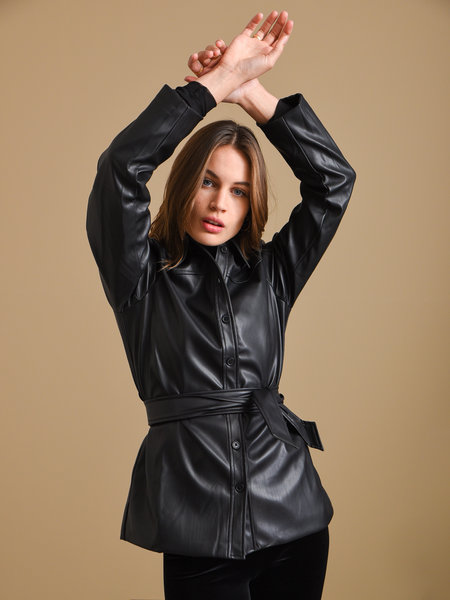 Rut & Circle Petra PU Jacket Black