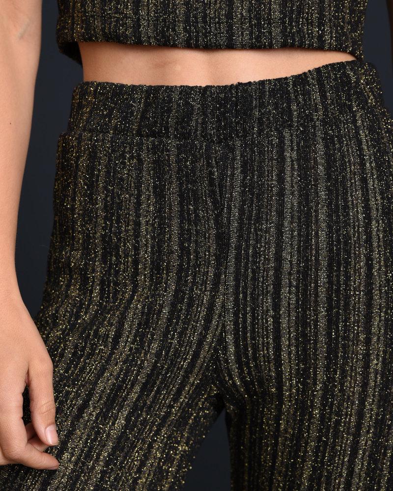NMReggie HW Knit Pant Black w. Gold
