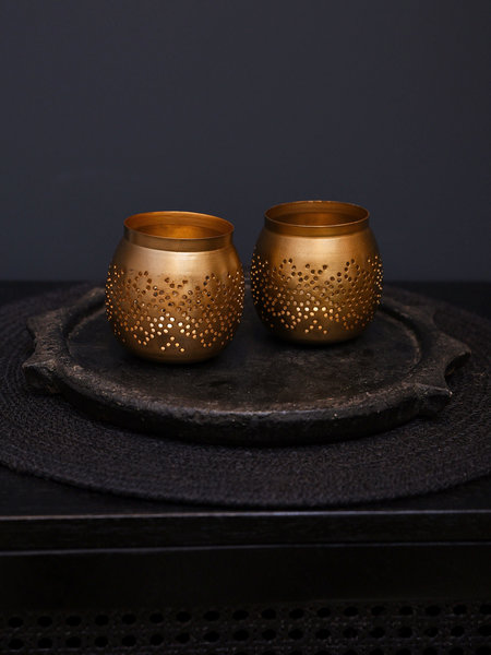 Madam Stoltz Gold Iron Tealight