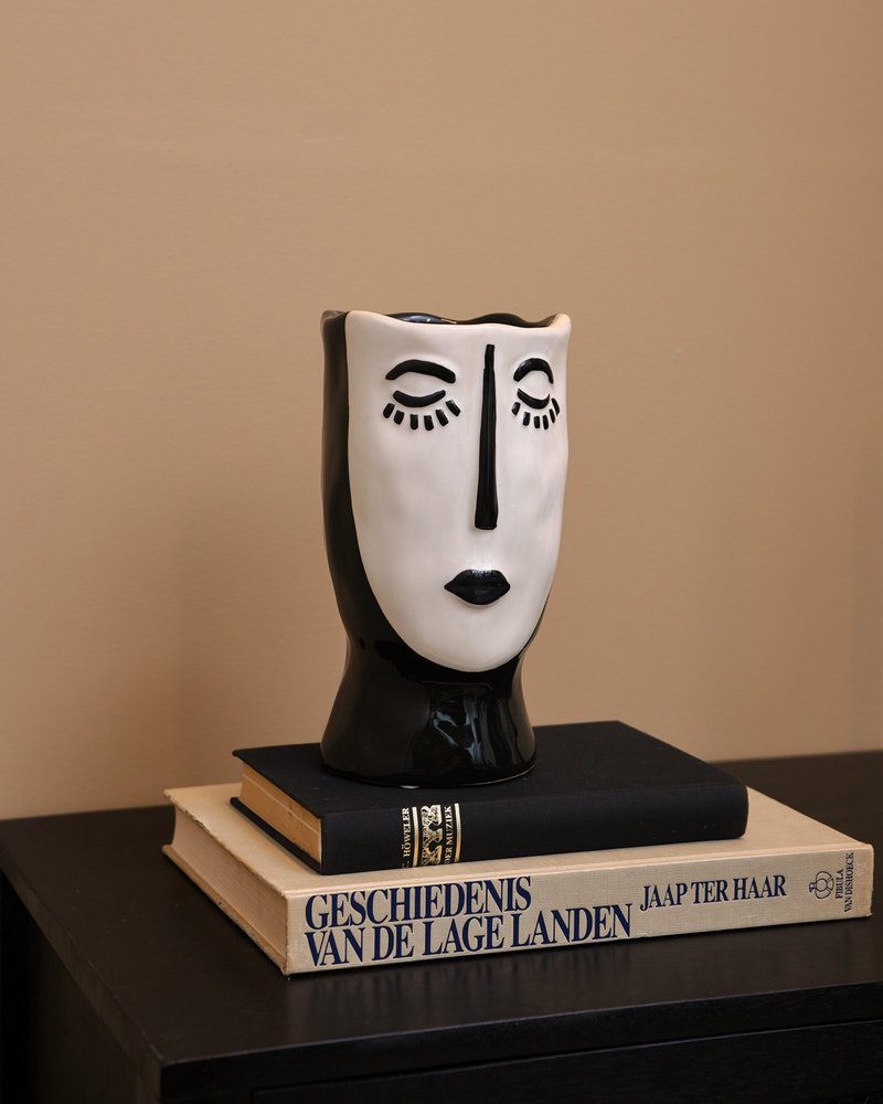 Planter Vase Face Black White