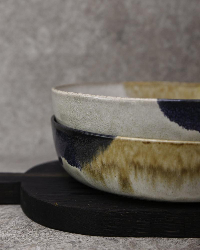 Big Serving Bowl Ocher Blue