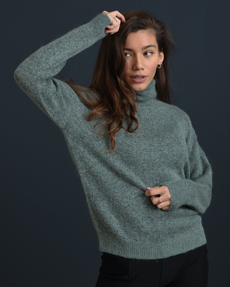 Femme Mohair Roll Neck Pullover Chinois Green