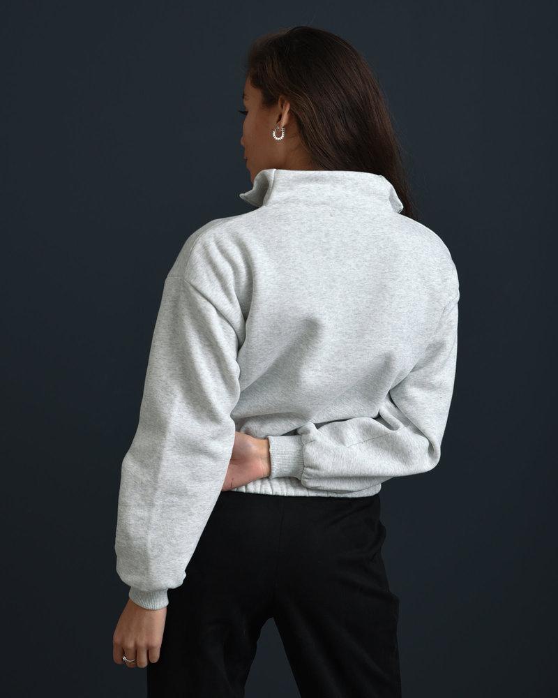Front Zip Sweater Light Grey