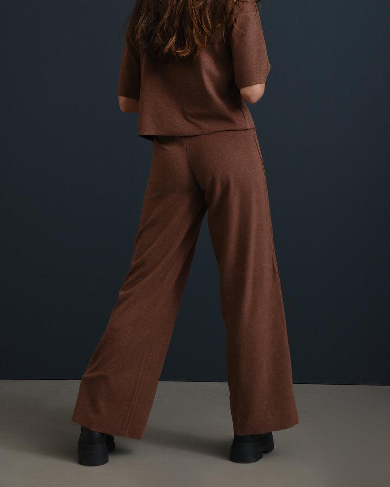 Alisa Fleece Wide Pants Rocky Road