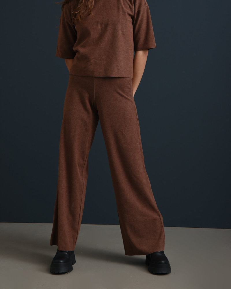 Alisa Fleece Wide Pants Rocky Road