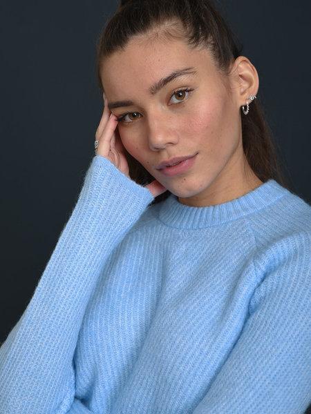 YAS Allu Roll Neck Knit Pullover Powder Blue