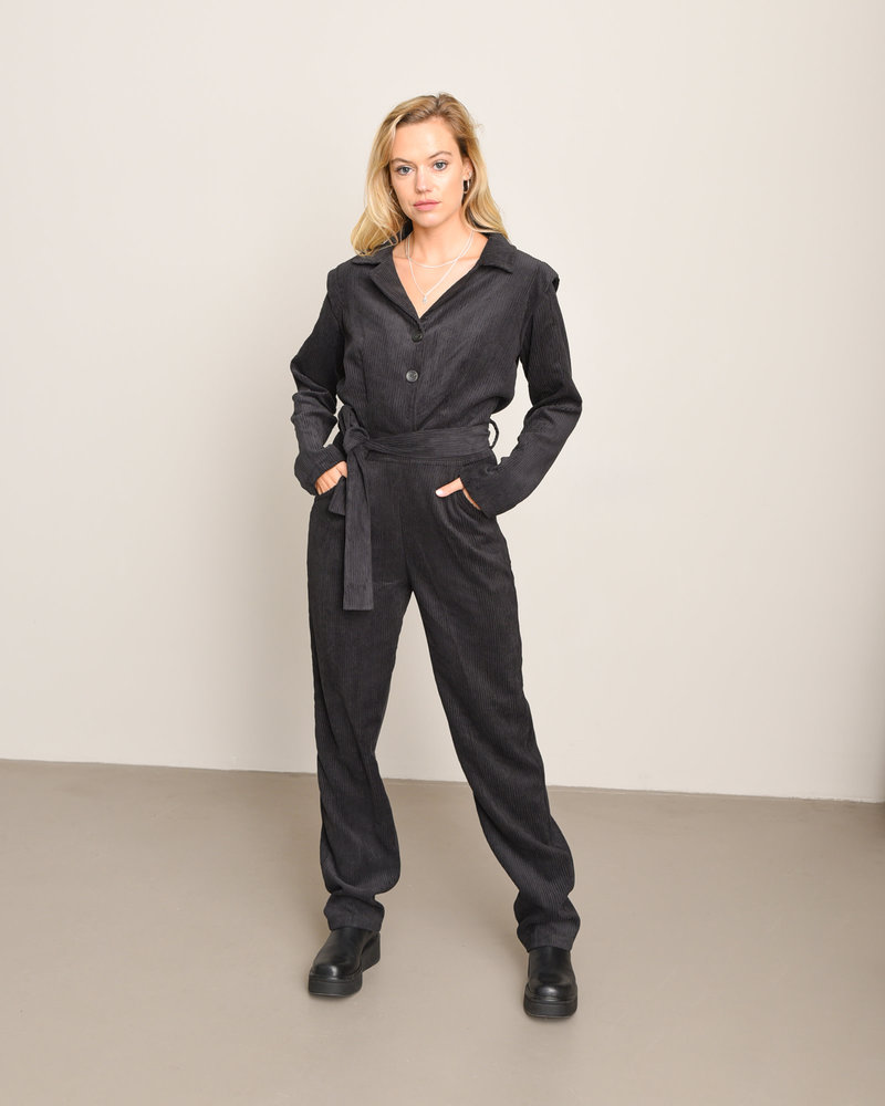 TILTIL Terry Rib Jumpsuit Black