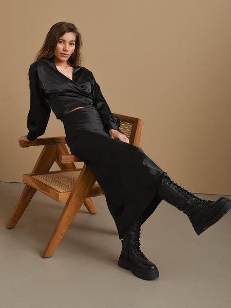 Things I Like Things I Love TILTIL Mira Satin Skirt Black