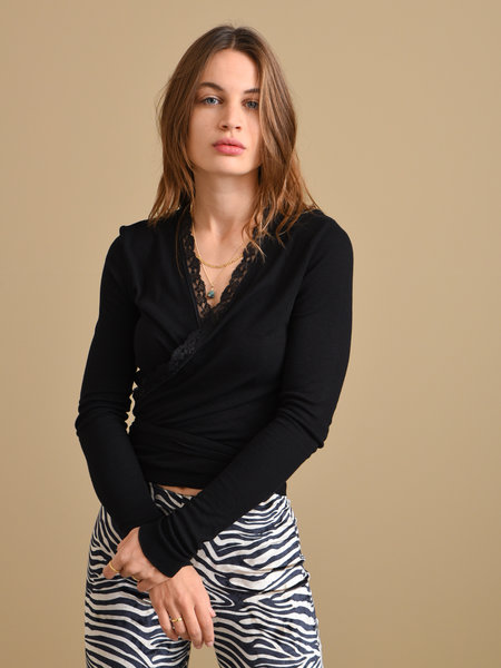 Things I Like Things I Love TILTIL Lace Willy Wrap Top Black