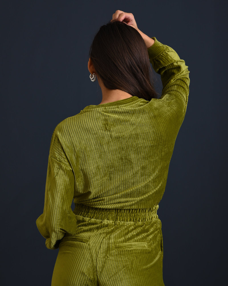 Louise Velvet Sweater Green
