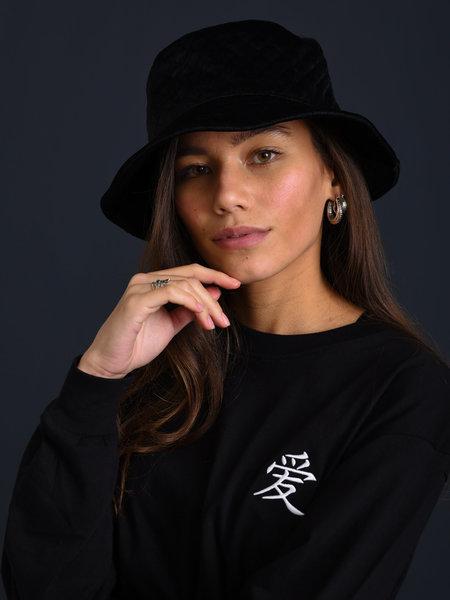 Noisy May Vera Velvet Bucket Hat Black