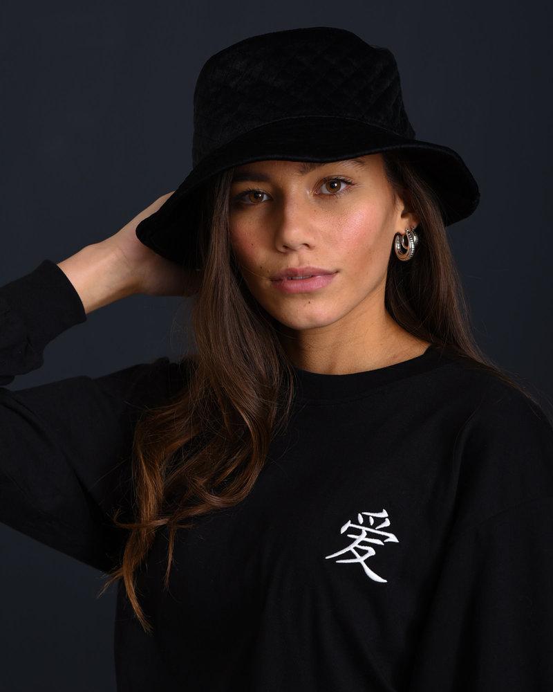 Vera Velvet Bucket Hat Black