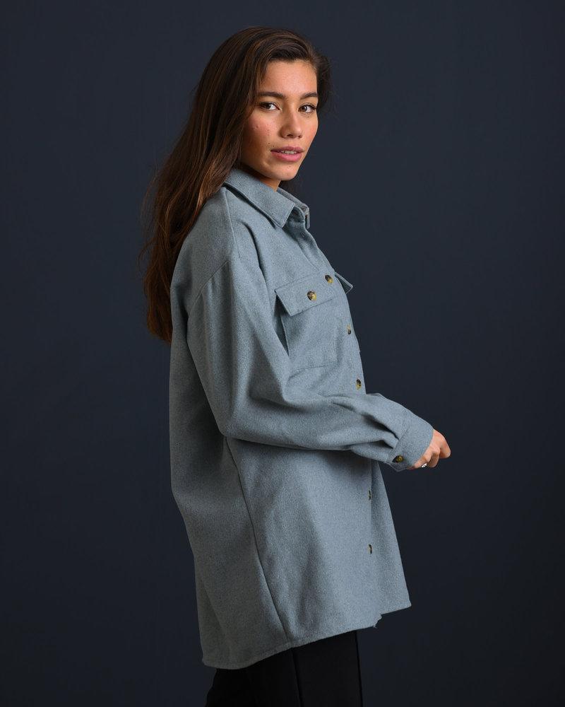 Flanny Long Shacket Slate Gray