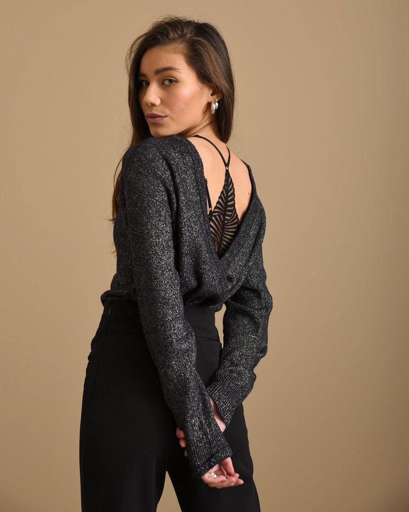 Marie Glitter Knit Black Silver