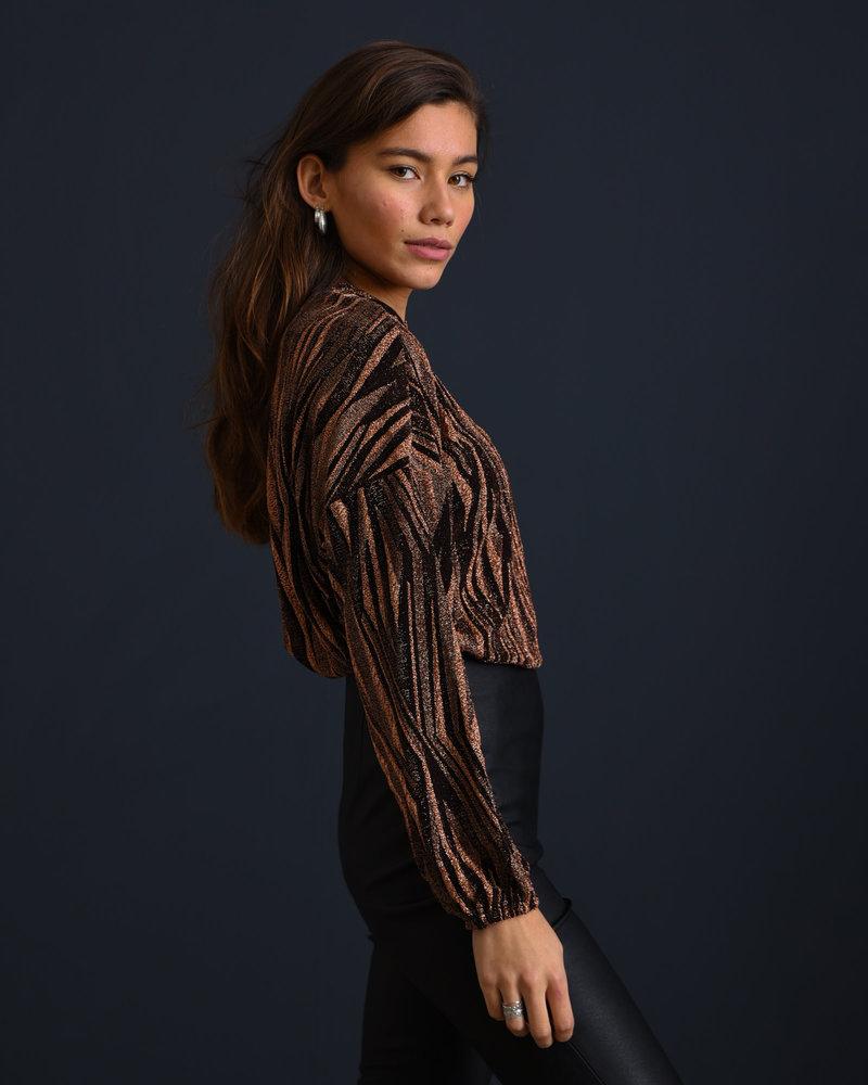 Nina Lurex Sweater Black/Rust