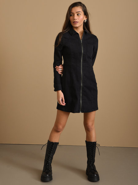 Noisy May Lisa Denim Zip Dress Black