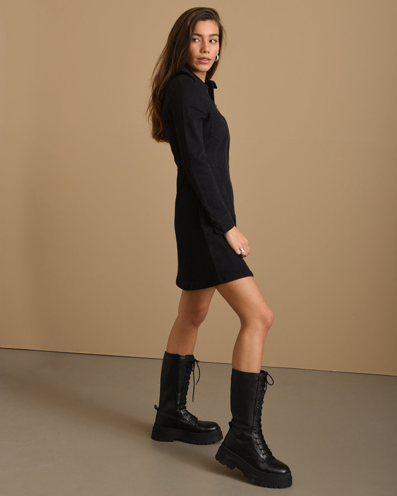 Lisa Denim Zip Dress Black