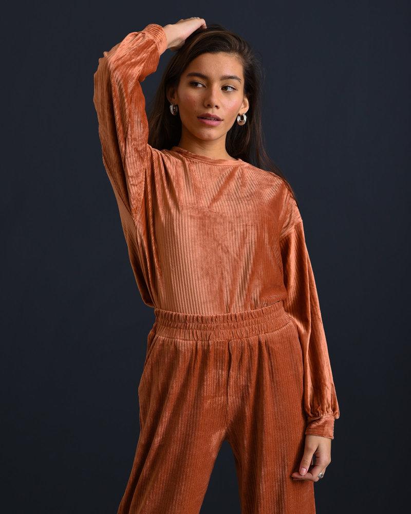 Louise Velvet Sweater Rust