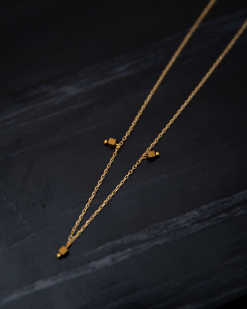 Square Bead Necklace Gold