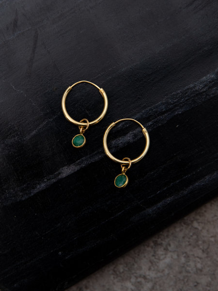 Ess Yello Simple Dot Earring Green