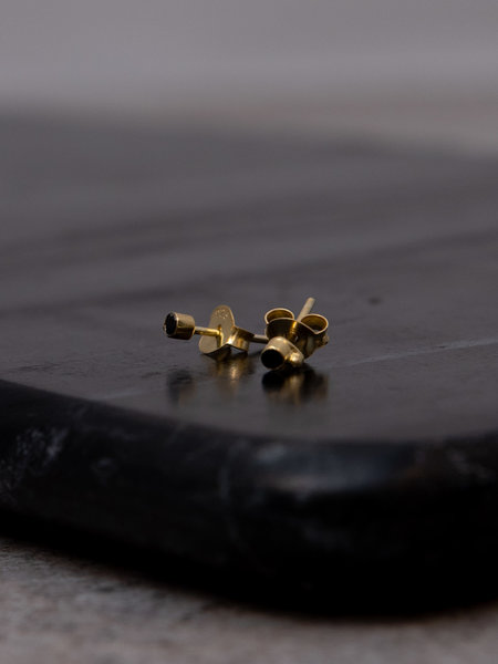 Flawed Black Dot Studs Gold