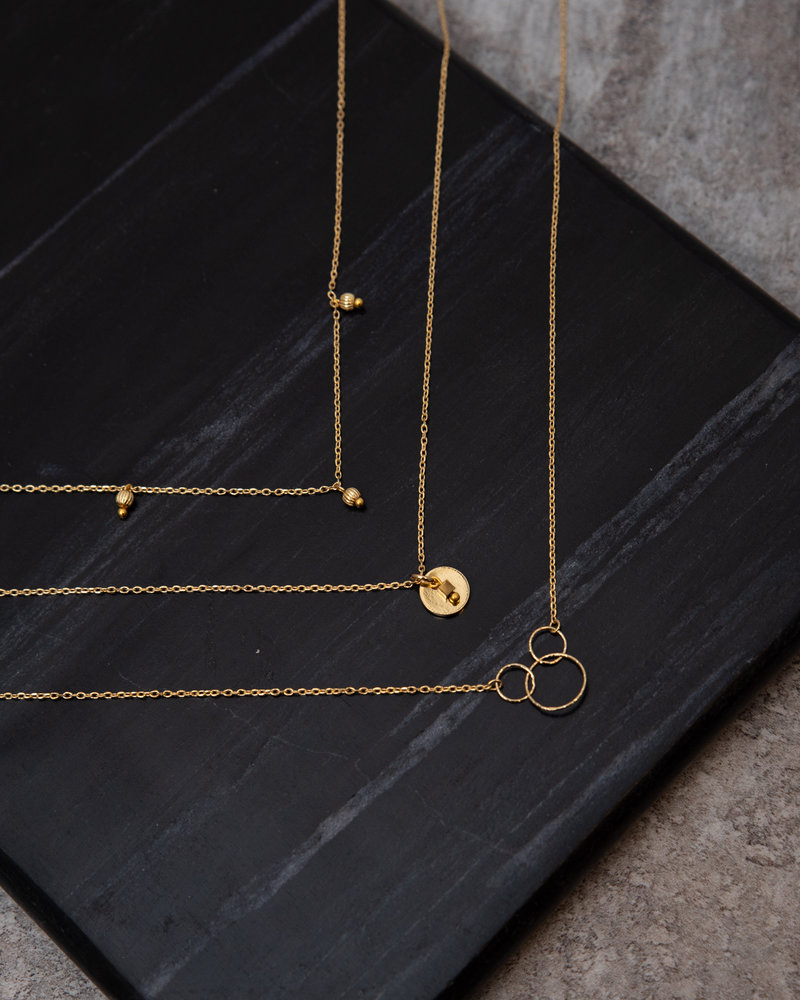 Triple Circle Necklace Gold