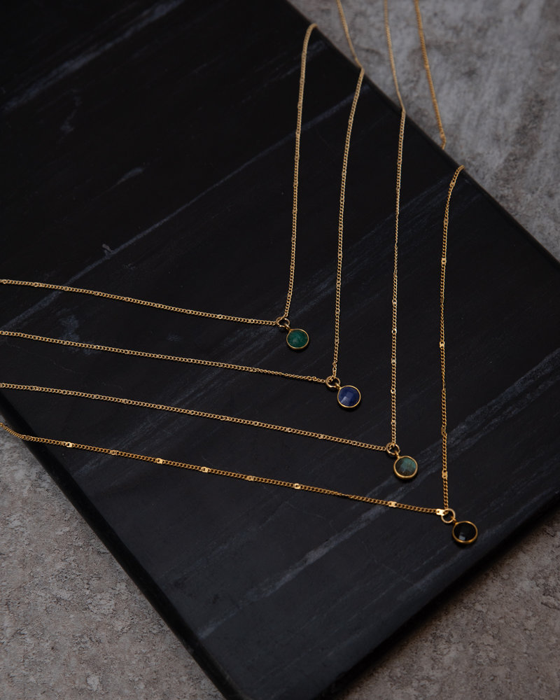 Necklace Dot Green Gold