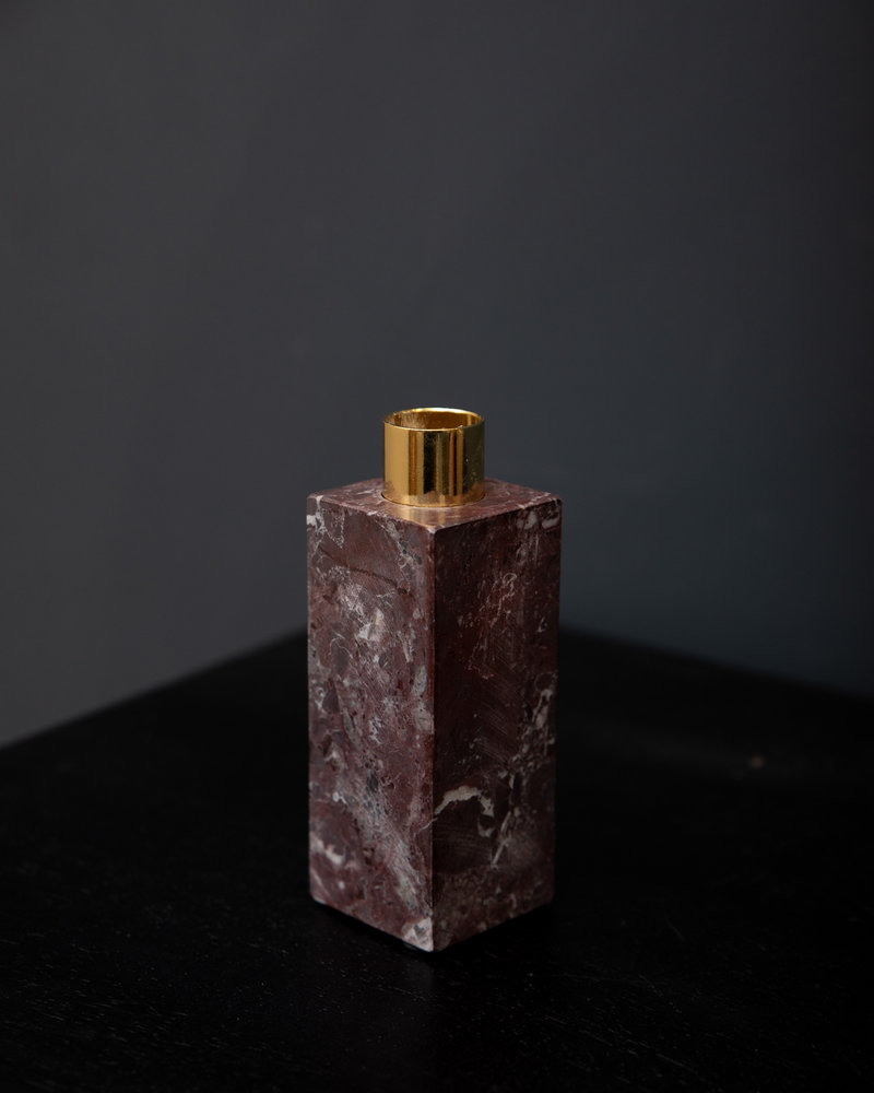Red Marble Block Candle Holder