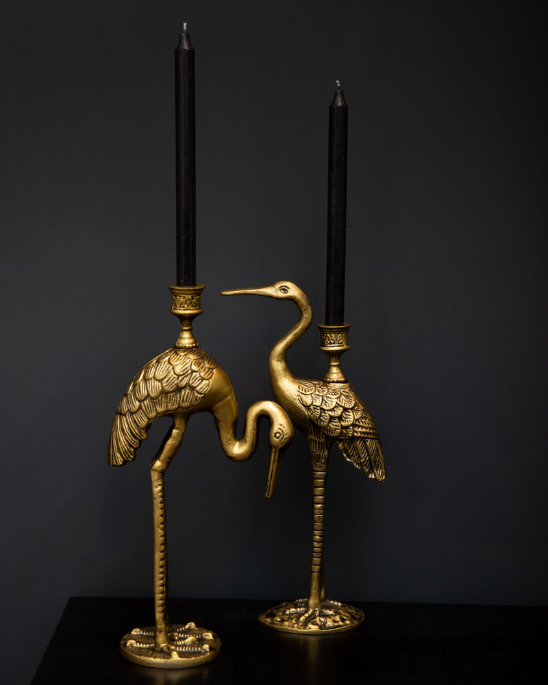 Candle Holder Gold Crane
