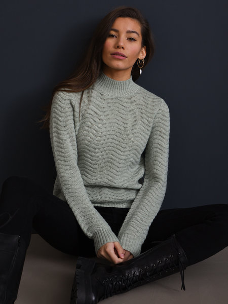 YAS Betricia Knit Pullover Green Lily
