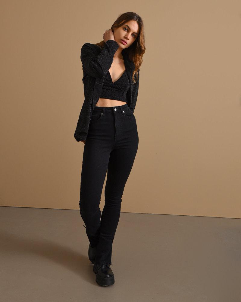 Skinny Jeans With Slit Black