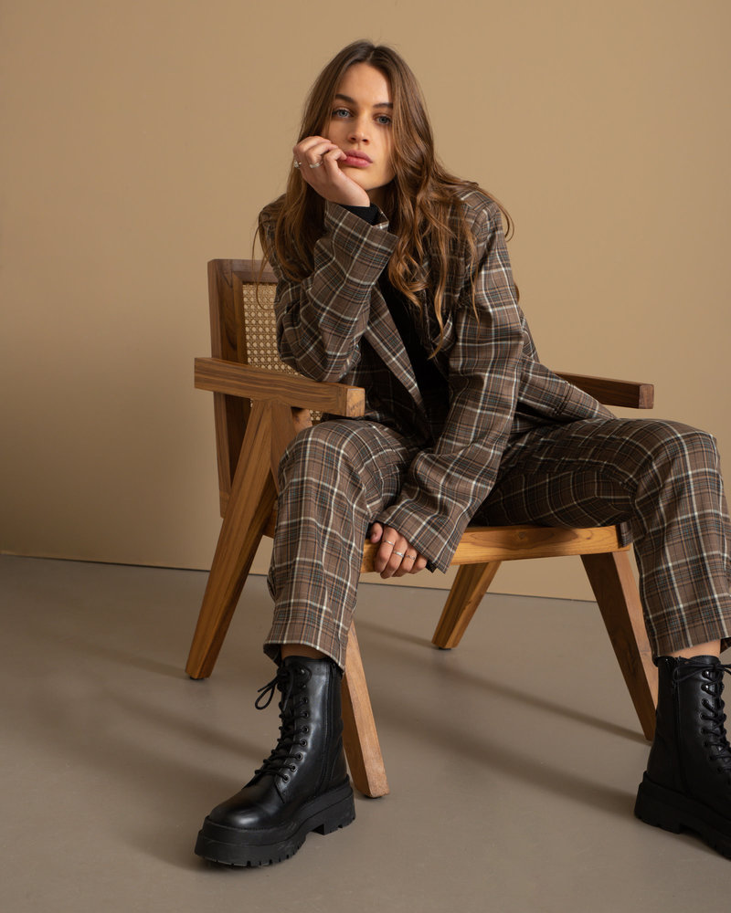 Checked Ankle Suits Pants Brown