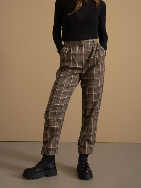 NAKD Checked Ankle Suits Pants Brown