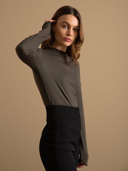 YAS Winela Wool Top Black Olive