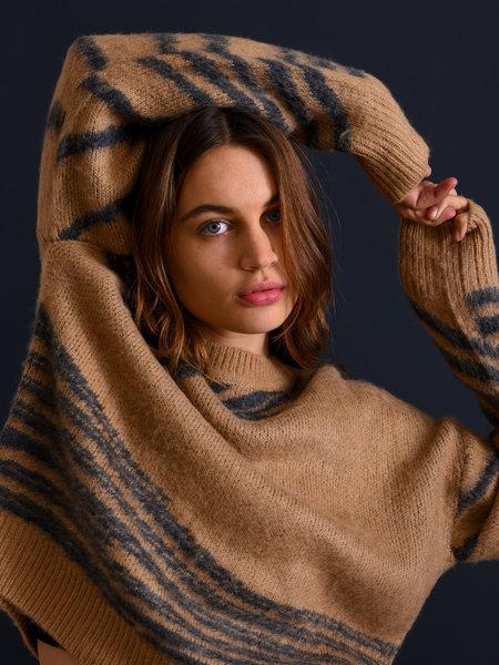 NAKD Brushed Pattern Knitted Sweater Beige/Black