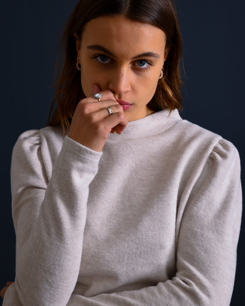 Sweater Puff Sleeve Beige