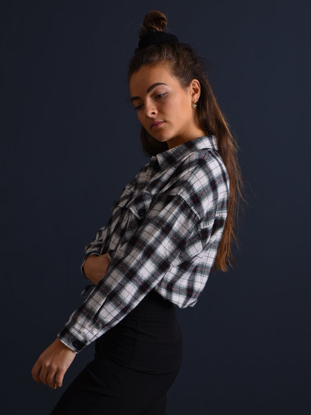 24Colours Checked Cropped Blouse